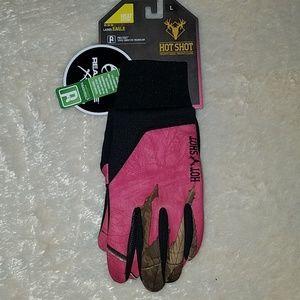 Hotshot real tree pink camo gloves fleece